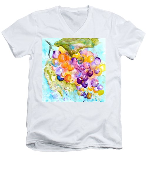 Fresh Grapes Men's V-Neck T-Shirt by Beverley Harper Tinsley
