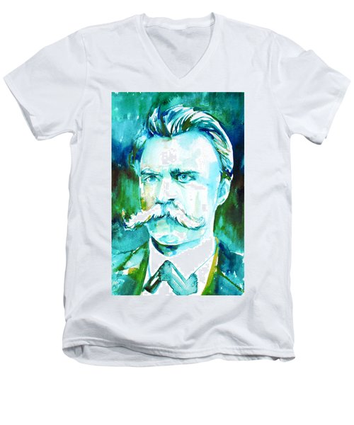 Friedrich Nietzsche Watercolor Portrait.1 Men's V-Neck T-Shirt by Fabrizio Cassetta