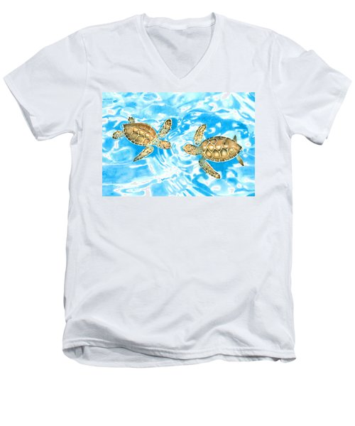 Friends Baby Sea Turtles Men's V-Neck T-Shirt
