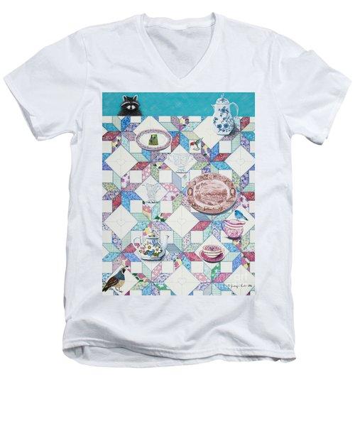 Friends Come To Tea Men's V-Neck T-Shirt by Jennifer Lake