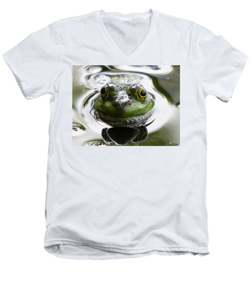 Men's V-Neck T-Shirt featuring the photograph Frog Kiss by Dianne Cowen