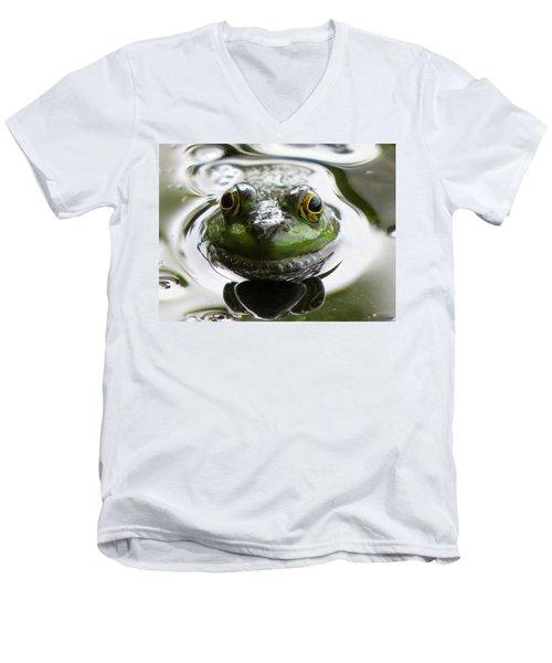 Frog Kiss Men's V-Neck T-Shirt by Dianne Cowen