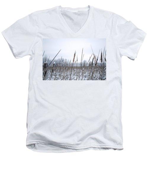 Frosty Cattails Men's V-Neck T-Shirt