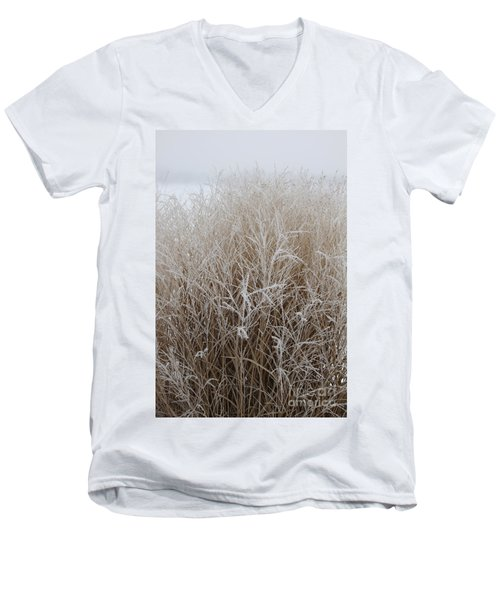 Frozen Grass Men's V-Neck T-Shirt by Debbie Hart