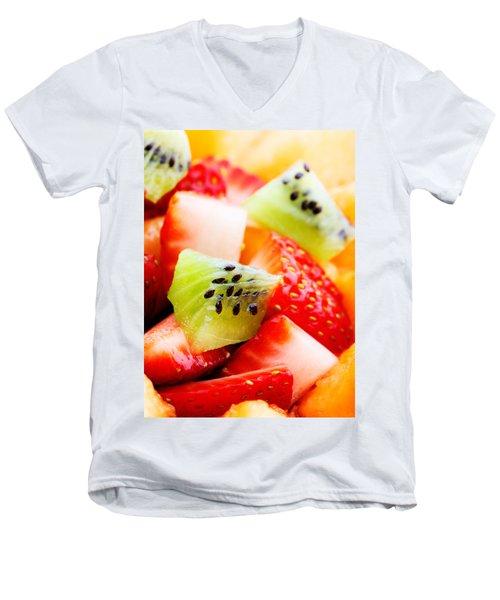 Fruit Salad Macro Men's V-Neck T-Shirt by Johan Swanepoel