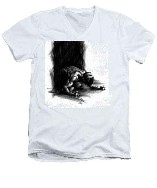 Men's V-Neck T-Shirt featuring the drawing Frustration by Paul Davenport