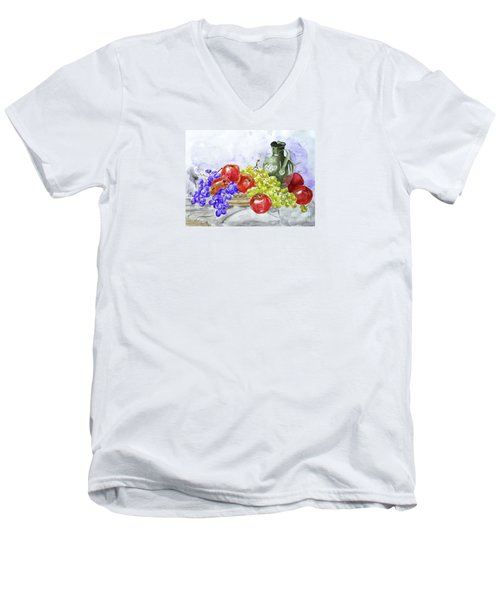 Men's V-Neck T-Shirt featuring the painting Fruit After Him by Jasna Dragun
