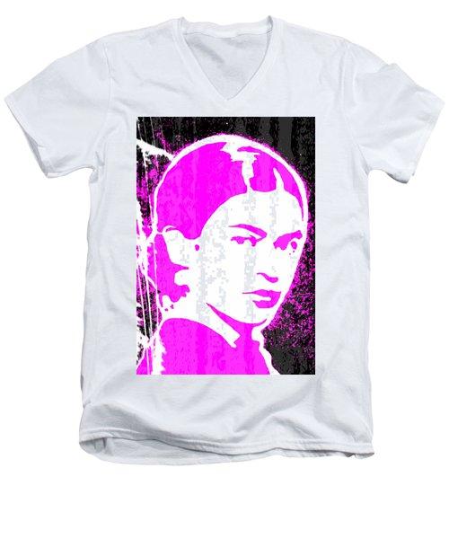Fuchsia Frida Men's V-Neck T-Shirt