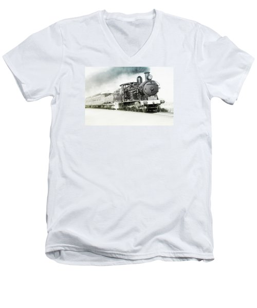 Men's V-Neck T-Shirt featuring the photograph Full Steam Ahead by Kevin Chippindall