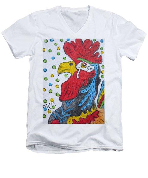 Funky Cartoon Rooster Men's V-Neck T-Shirt