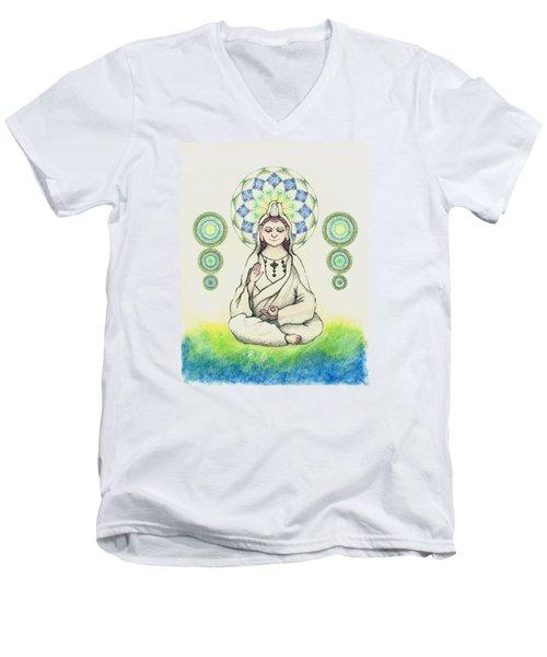 Men's V-Neck T-Shirt featuring the painting Fureai Quan Yin In Kyoto by Keiko Katsuta
