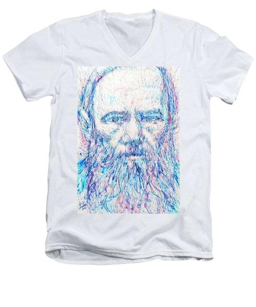 Fyodor Dostoyevsky / Colored Pens Portrait Men's V-Neck T-Shirt by Fabrizio Cassetta