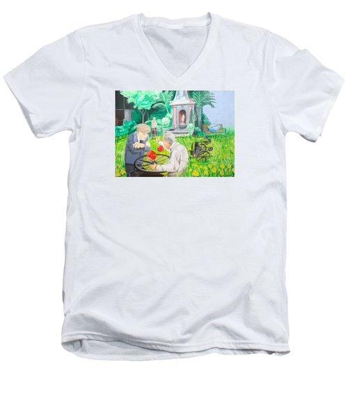 Men's V-Neck T-Shirt featuring the painting Gambling Grandma  by Lazaro Hurtado