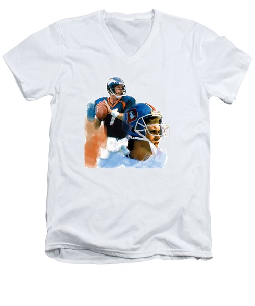 Game Elway  John Elway Men's V-Neck T-Shirt by Iconic Images Art Gallery David Pucciarelli