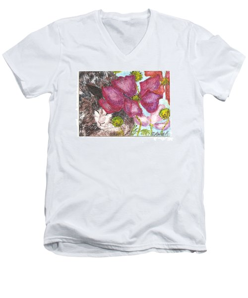 Men's V-Neck T-Shirt featuring the painting Garden Nap by Reina Resto