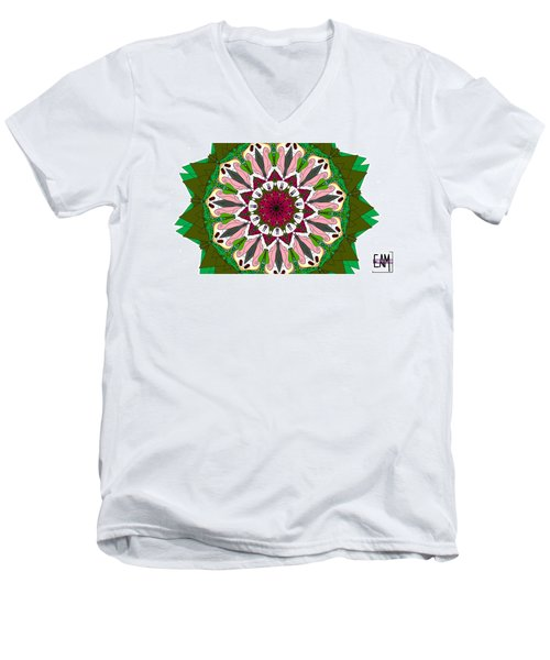Men's V-Neck T-Shirt featuring the digital art Garden Party by Elizabeth McTaggart