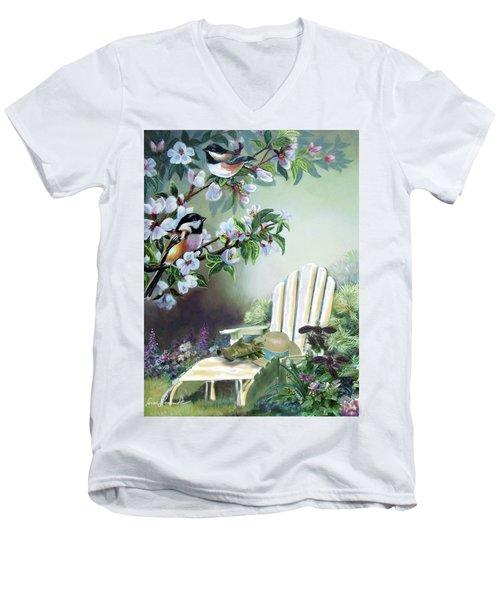 Chickadees In Blossom Tree Men's V-Neck T-Shirt by Regina Femrite