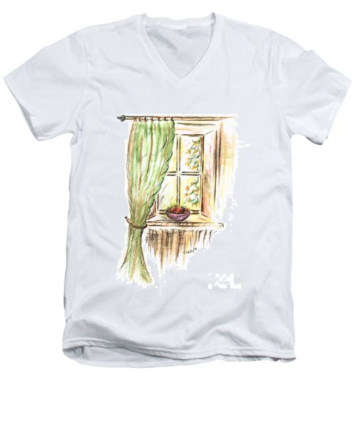 Garden View Men's V-Neck T-Shirt by Teresa White