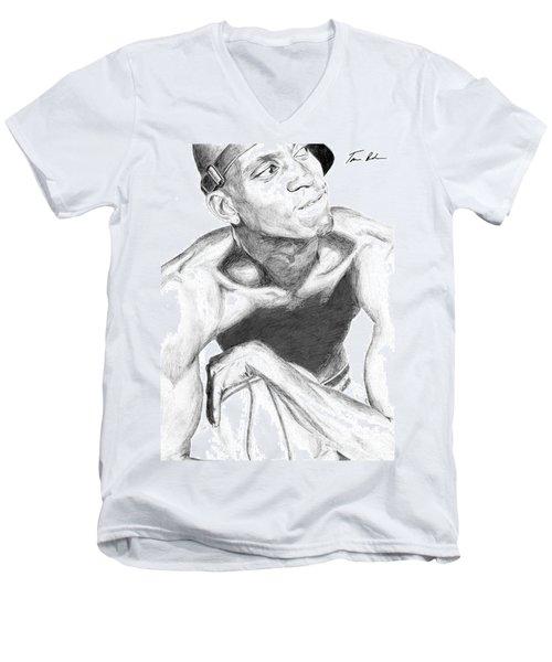Men's V-Neck T-Shirt featuring the drawing Garnett 2 by Tamir Barkan