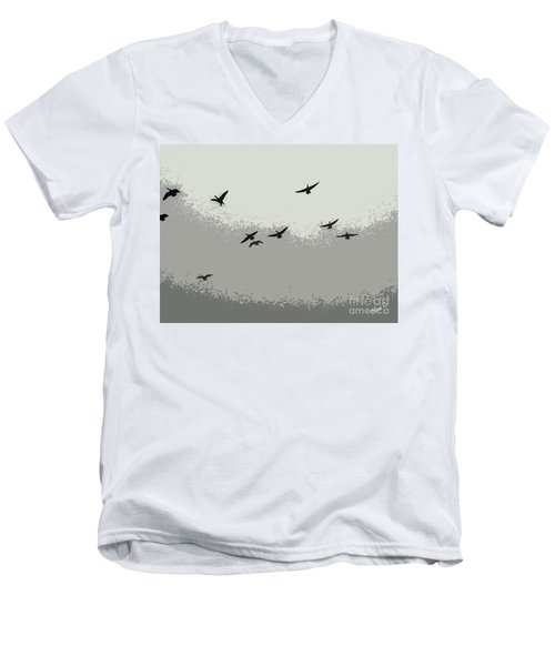 Men's V-Neck T-Shirt featuring the photograph Geese In Sillouehette by Nina Silver