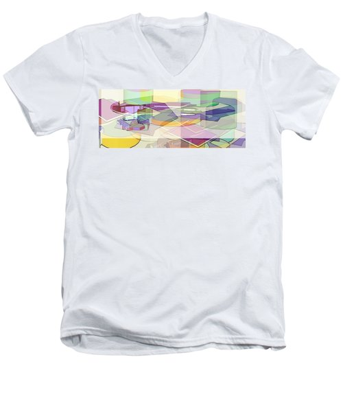 Men's V-Neck T-Shirt featuring the digital art Geo-art by Cathy Anderson