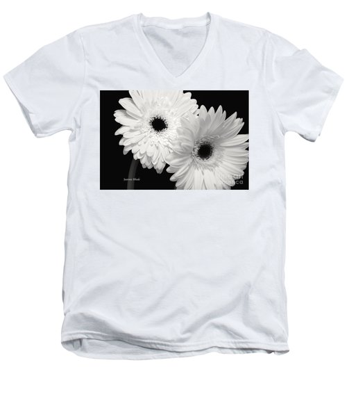 Gerbera Daisy Sisters Men's V-Neck T-Shirt by Jeannie Rhode