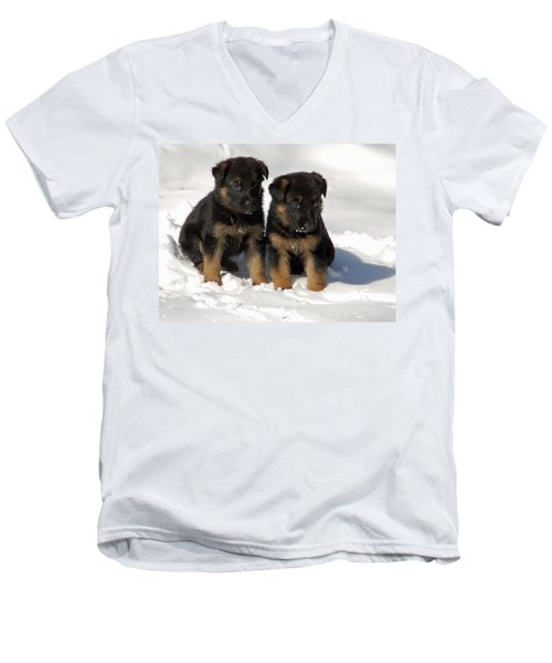 Men's V-Neck T-Shirt featuring the photograph German Shepherd Pups by Aimee L Maher Photography and Art Visit ALMGallerydotcom