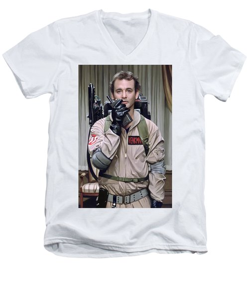 Men's V-Neck T-Shirt featuring the painting Ghostbusters - Bill Murray Artwork 2 by Sheraz A