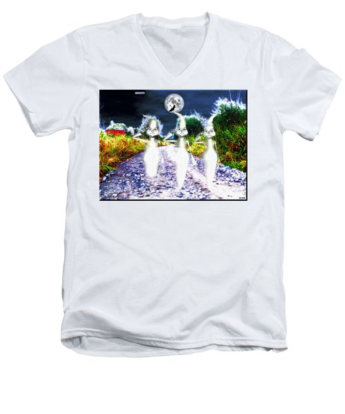 Men's V-Neck T-Shirt featuring the digital art Ghosts by Daniel Janda