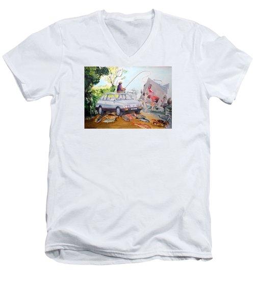 Gift Listen With Music Of The Description Box Men's V-Neck T-Shirt by Lazaro Hurtado