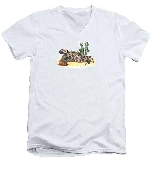 Gila Monster Men's V-Neck T-Shirt by Cindy Hitchcock