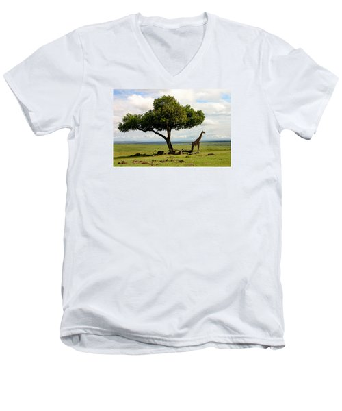 Giraffe And The Lonely Tree  Men's V-Neck T-Shirt