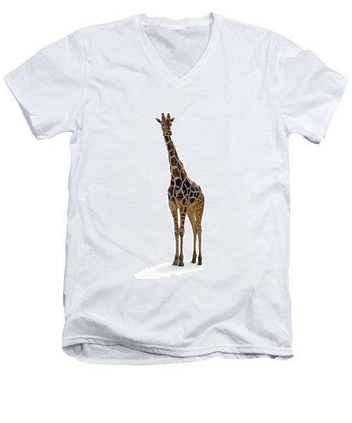 Men's V-Neck T-Shirt featuring the photograph Giraffe by Charles Beeler