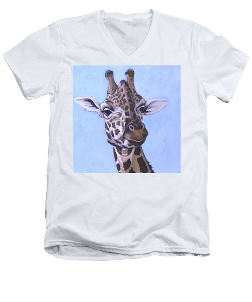 Men's V-Neck T-Shirt featuring the painting Giraffe Eye To Eye by Penny Birch-Williams