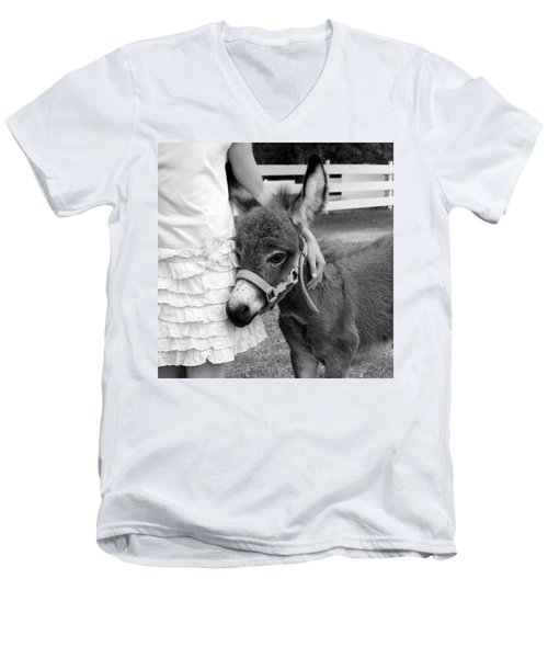Girl And Baby Donkey Men's V-Neck T-Shirt by Brooke T Ryan