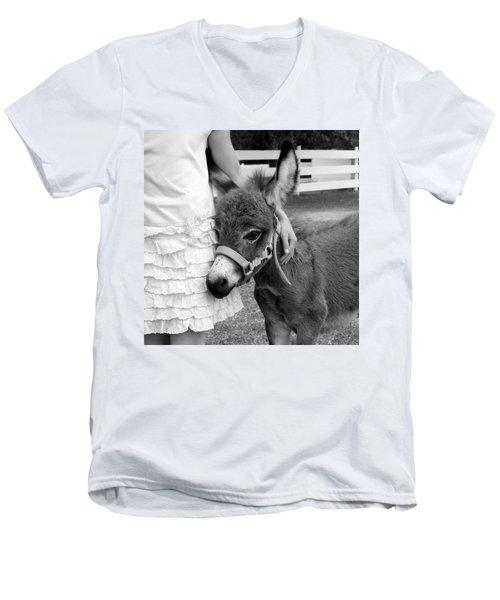 Girl And Baby Donkey Men's V-Neck T-Shirt