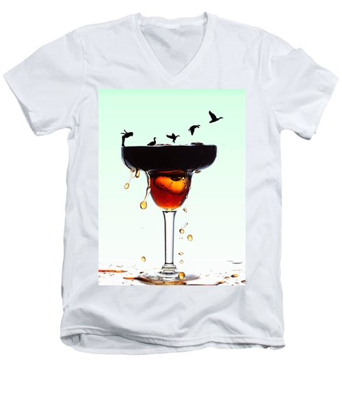 Girl And Geese Liquid Art Men's V-Neck T-Shirt