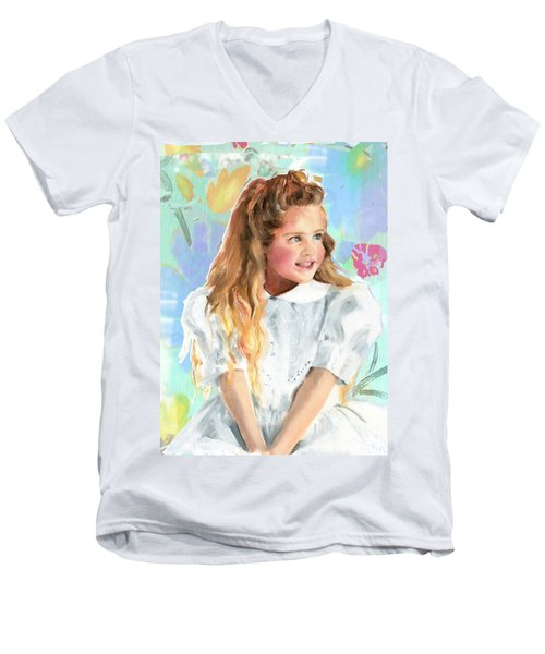 Girl In A White Lace Dress  Men's V-Neck T-Shirt