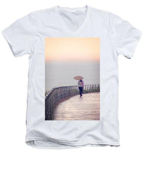 Girl Walking With Umbrella Men's V-Neck T-Shirt