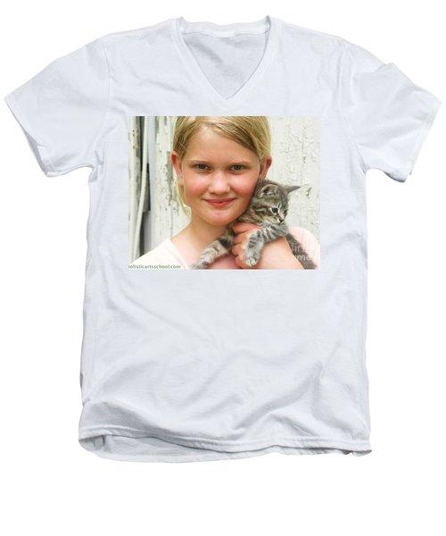 Girl With Kitten Men's V-Neck T-Shirt