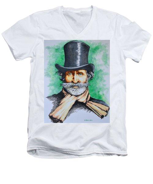 Giuseppe Verdi Men's V-Neck T-Shirt by Victor Minca