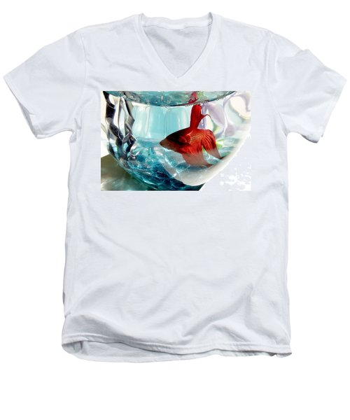 Men's V-Neck T-Shirt featuring the photograph Glamor Rudy by Valerie Reeves