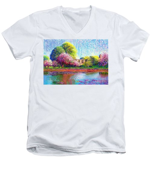 Men's V-Neck T-Shirt featuring the painting Glastonbury Abbey Lily Pool by Jane Small