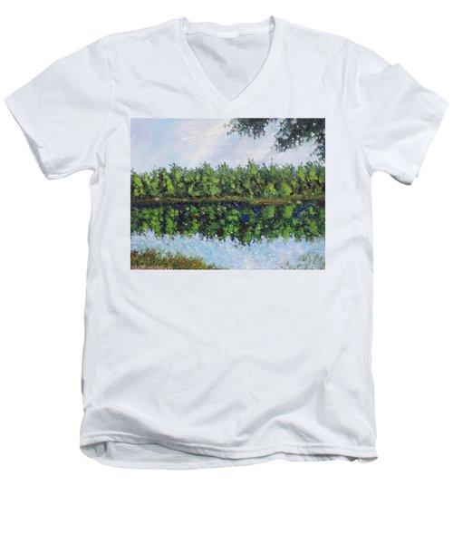 Men's V-Neck T-Shirt featuring the painting Glenoak Lake by Jason Williamson
