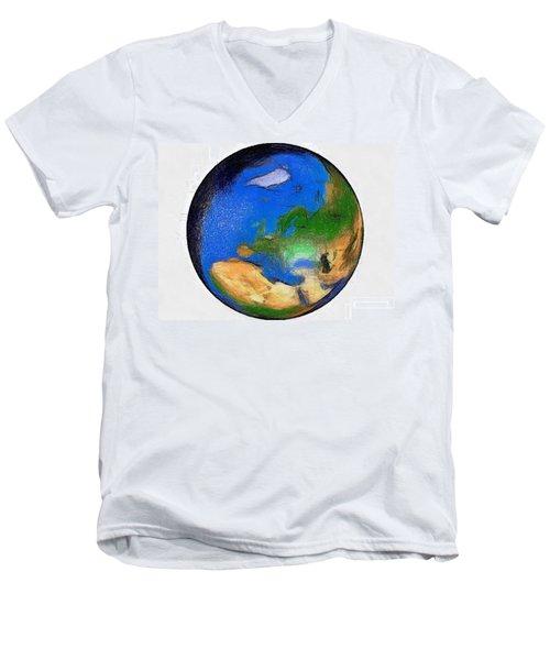 Globe 3d Picture Men's V-Neck T-Shirt by Georgi Dimitrov