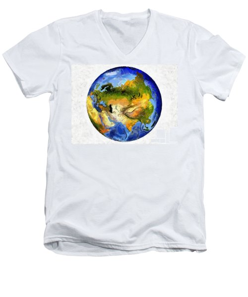 Globe World Map Men's V-Neck T-Shirt by Georgi Dimitrov