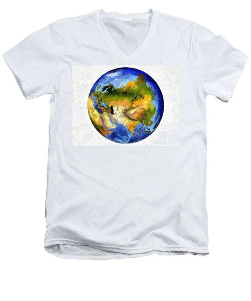 Globe World Map Men's V-Neck T-Shirt