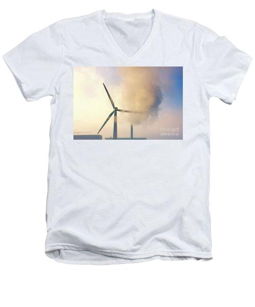 Gloomy Industrial View. Men's V-Neck T-Shirt