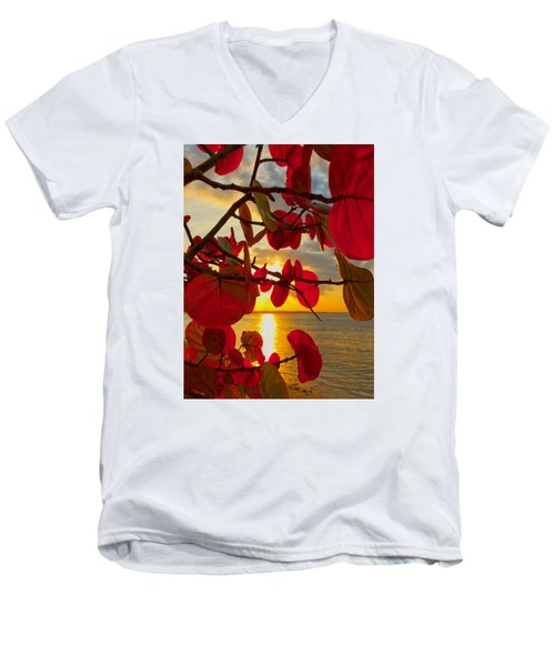 Glowing Red Men's V-Neck T-Shirt by Stephen Anderson