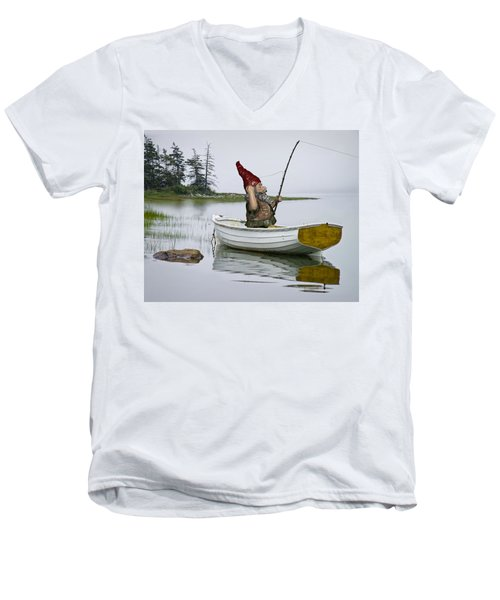 Gnome Fisherman In A White Maine Boat On A Foggy Morning Men's V-Neck T-Shirt